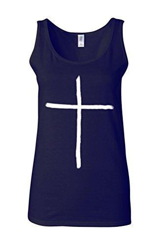 Cross Beleive in Yourself Art Novelty White Femme Women Tricot de Corps Tank Top Vest Bleu Foncé