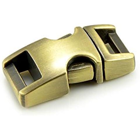 '3unidades 3/8cierres de clip y cierre/ranuras cierre, gran calidad, Baender24-Produkt–) resistente, legiertem metal para paracord, cuerda, etc., 33mm x 15mm, color: Vintage Oro, Tamaño S–Marca