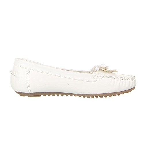 ... MOKASSINS Weiß Damen Schuhe, B805-BL, MOKASSINS Weiß
