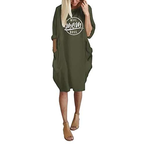 ☆Elecenty☆ Damen 2018 Langärmelige Tunika Tops mit Zwei Seite Große Taschen Kleid Minikleid T-Shirtkleid Tunikakleid Strandkleider -