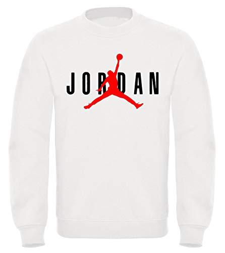Felpa mod. girocollo michael jordan - streetwear felpa bianca nera taglie adulti e bambini ragazzi (m-adulto, bianco)
