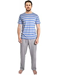 Mens Pyjamas Set Short Sleeve Top \u0026 Long Bottoms Pants Summer (1 or 3 Pack