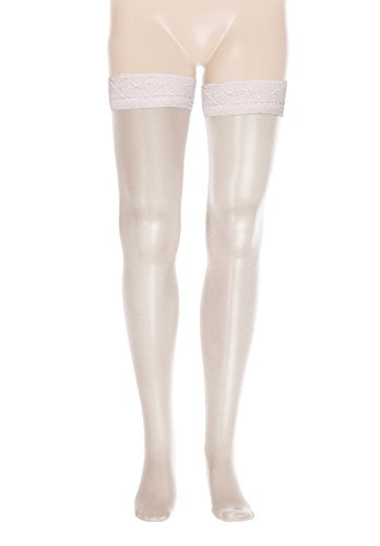 sofsy Encaje para Muslo de alto escarpado Sheer Medias adhesivas de Nylon Pantyhose Deep Wide de Silicona Top 20 Den Hecho en Italia
