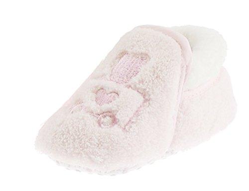 Schön weiche Baby-Jungen und Mädchen, bestickt, warme, flauschige Hausschuhe mit Reißverschluss Rosa - Pink