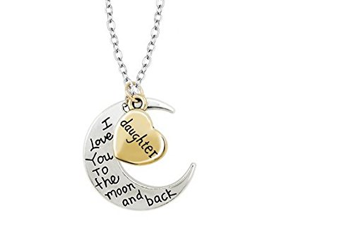 Liroyal I Love You To The Moon & Back Necklace Pendant Charm Gift
