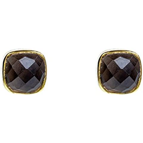 Cushion Stud Smokey Quartz Rosegold Vermeil