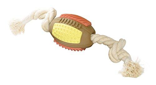 Topzoo Hundespielzeug, Rugby-Ball, Kautschuk, braun
