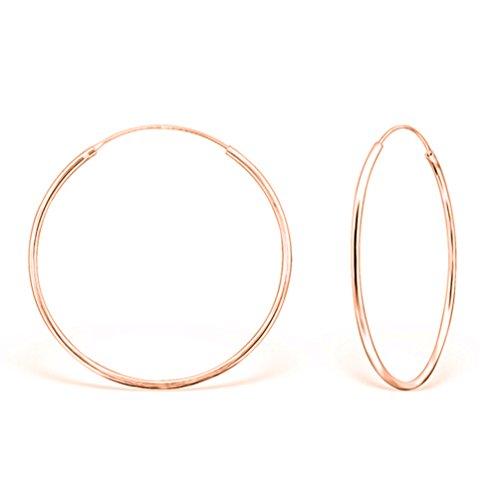 DTPsilver - Damen - Groß Creolen - Ohrringe 925 Sterling Silber Rosen-Gold überzogen - Dicke 1.2 mm - Durchmesser 40 mm