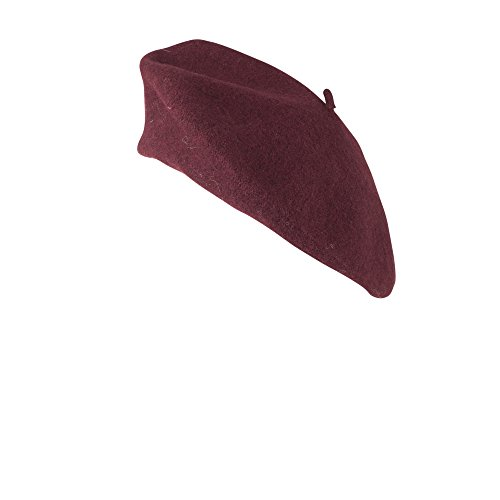 Vivente Vivo HAT077-Traditional Woolen French Style Burgundy Beret for Women's Fashion and Costumes