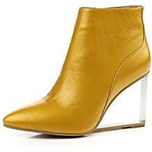5b8a8659ab98a9 QINGMM Frauen Leder Keilstiefeletten Mode Spitzen Hochhackige Party Stiefel  Schwarz Gelb