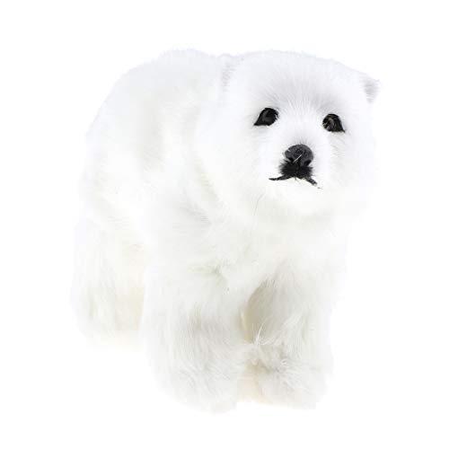 FLAMEER Animaux Artificielle Figure d'ours Polaire Sculptures 3D Cadeau Noël - 19x13cm