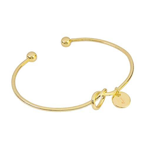 (UINGKID Damen-Armband Charm Kreative Stilvolle Europäischen und amerikanischen Stil Herzform Metall einfach geknotet 26 Buchstaben)