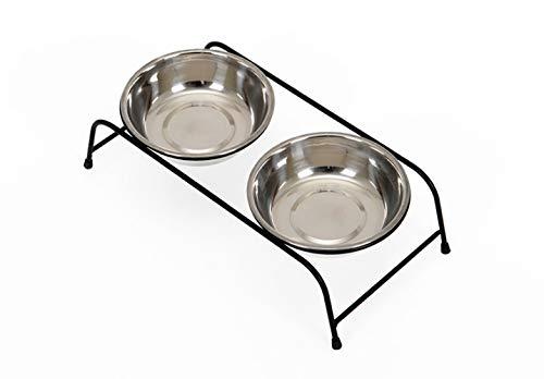 WEII Pet Table Pet Katze Kleine und Mittlere Hund Pet Bowl Wasserschale Pet Food Bowl Supplies,Rostfreier Stah,M