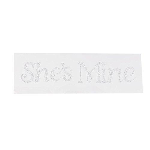 She's Mine Autocollant Acrylique Décoration de Chaussure de Marié - Argent