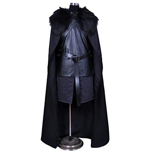 QWEASZER Game of Thrones Jon Snow Kostüm Herren Jon Snow Kostüm Cosplay Kostüm Halloween Outfit, Schule Drama Performance Kleidung Overall,Jon Snow-S