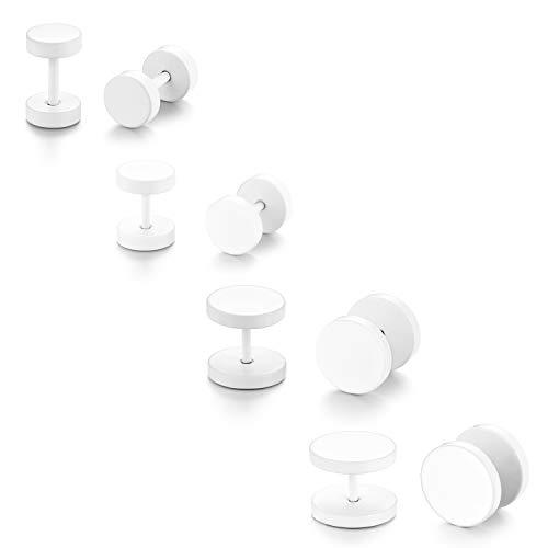 JewelryWe Schmuck 4 Paar runde Ohrstecker, 6-12mm Edelstahl Fake Piercing Ohr Plug Tunnel Ohr Cheater Ohrringe für Herren Damen, Weiß