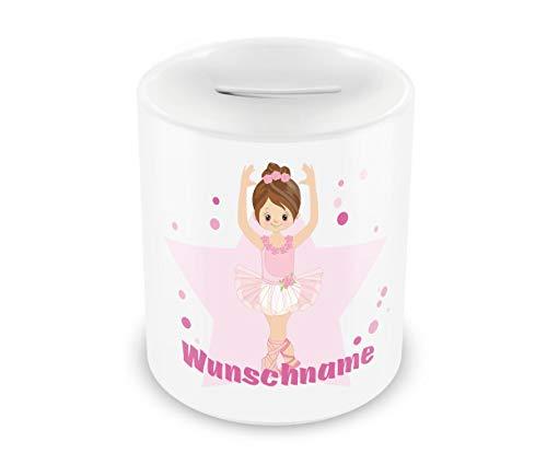Samunshi® Kinder Spardose mit Namen und Süße Ballerina als Motiv für Kinder - Jungen und Mädchen Sparschwein weiß