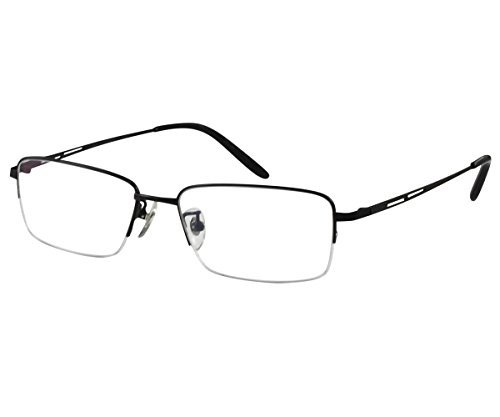 EyeBuyExpress Titanium Rectangle Black Reading Glasses Magnification Strength 9.5