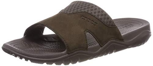 Crocs Swiftwater Leather Slide Men, Sandalias de Punta Descubierta para Hombre, Marrón Espresso 22z...