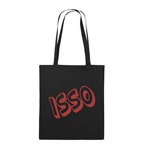 Comedy Bags - ISSO - COMIC SCHIEF - Jutebeutel - lange Henkel - 38x42cm - Farbe: Schwarz / Silber Schwarz / Rot