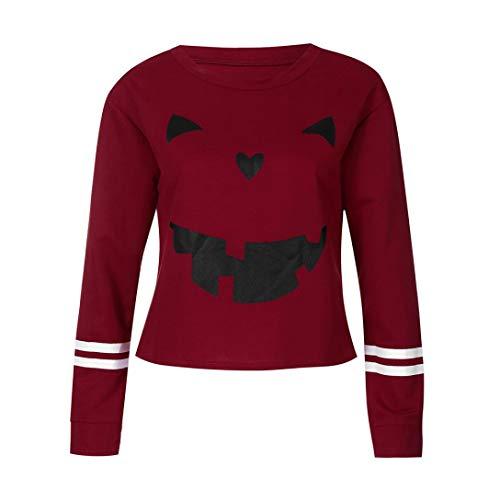 MIRRAY Damen Halloween Sweatshirt Frühling Herbst Winter Langarm Kürbis Gesicht T-Shirt Tops Bluse