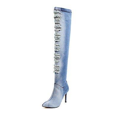 Da donna Scarpe Denim Inverno Stivali alla cowboy Stivali stivali slouch Stivaletti Appuntite Stivali oltre il ginocchio Cerniera Per light blue