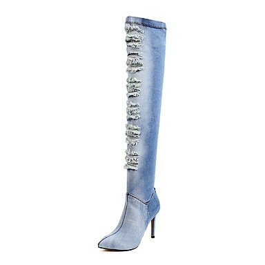 RTRY Scarpe Donna Denim Inverno Cowboy / Western Stivali Stivali Moda Slouch Stivali Stivali Stiletto Heel Punta Sopra Il Ginocchio Stivali Zipper Luce Blu Noi6.5-7 / Eu37 / Uk4 5-5 / Cn37 US8 / EU39 / UK6 / CN39