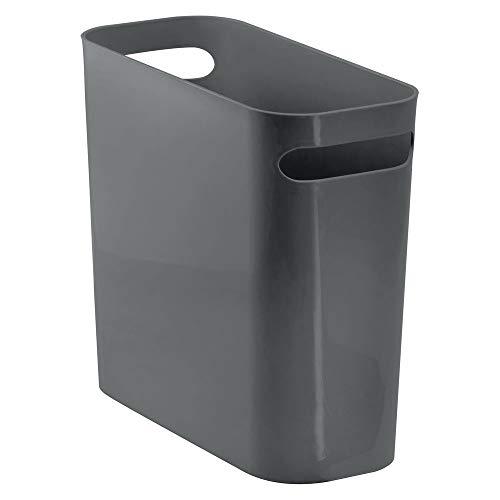 MDesign Contenedores de basura de plástico con asas - Cubo de basura rectangular para cocina, baño...