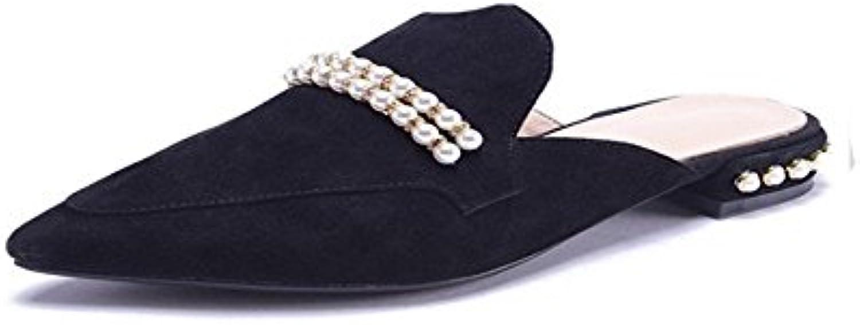 FangYOU1314 Cuero Acentuado Grueso con Zapatillas Planas de Perlas (Color : Negro, tamaño : 39 1/3 EU)
