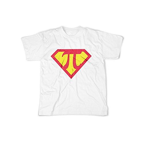 Männer T-Shirt mit Aufdruck in Weiß Gr. L PI Superheld Logo Design Boy Top Jungs Shirt Herren Basic 100% Baumwolle Kurzarm