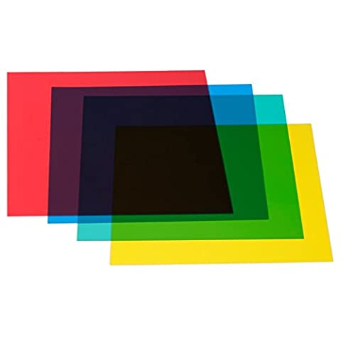 "Neewer® 12""x 12""/30 x 30cm Color Correction Gels Set 4-Color Gel Filter Film Gel Sheet for Video Light Studio Flash Strobe, Set Including: (1) Red Color Gel+ (1) Yellow Color Gel+ (1) Green Color Gel+ (1) Blue Color Gel"