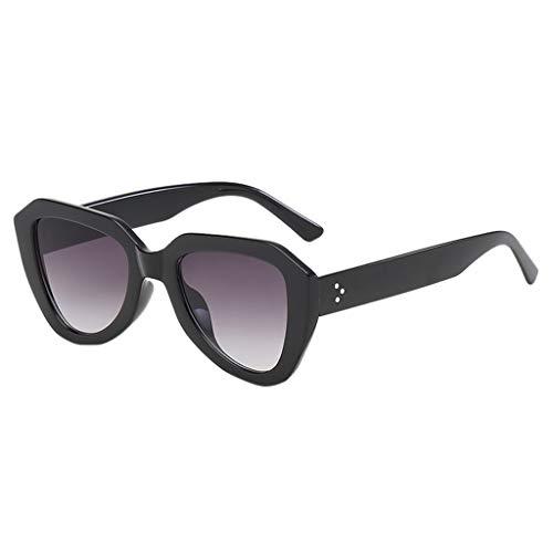 fazry Damen Herren unregelmäßige Form Sonnenbrille Vintage Style Brille(Grau)