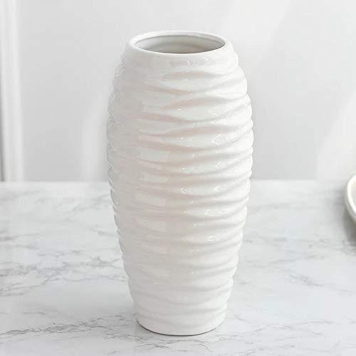 KDSC Zylindrische Relief Welle Keramik Vase Blume Rustikalen Stil Weiße Vase Dekoration Ornamente,White -