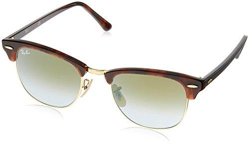 Ray Ban Unisex Sonnenbrille Clubmaster Mehrfarbig (Gestell: rot (havana),Gläser: grünverlauf 990/9J) Medium (Herstellergröße: 51)