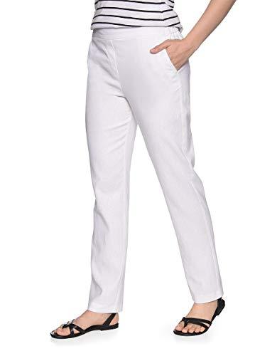 Bexleys by Adler Mode Damen Hose aus Leinenmischung in Schlupfform - Jeans, Stoffhose, Bermuda, Cargohose - auch in Kurzgrößen erhältlich Weiß 40 -