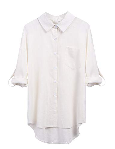 Parabler Damen Elegant Bluse Hemd Langarmshirt Tunika V-Ausschnitt Langarm Freizeit Shirt Tops (EU 38(Herstellergröße:M), Weiß)