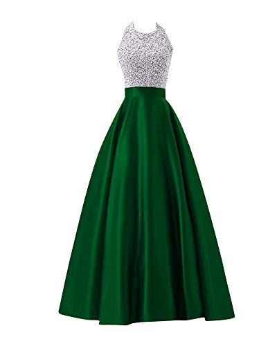PengGengA Donna Elegante Vestiti da Matrimonio Abito Lunghi Vestito Formale Banchetto Sera Verde M