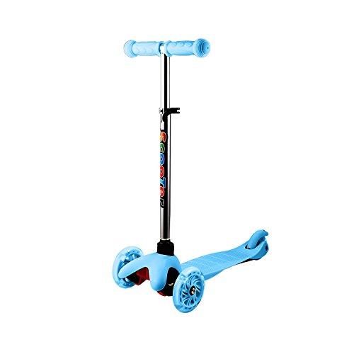 Tomasa 3 Räder Kinder Kickroller Scooter Roller Cityroller mit LED Blinken Einstellbare Höhe Kinder Tretroller (Blau)