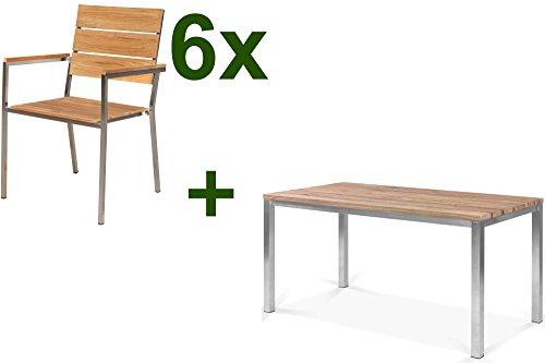 OUTFLEXX Tischgruppe mit 6 Stapel-Stühlen in natur, Gartengarnitur aus Edelstahl Metall, Sitzgruppe mit Teak-Holz, Esstisch-Gruppe ca. 150x90 cm