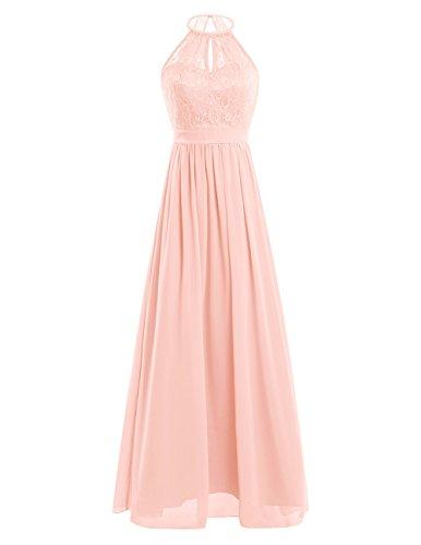 iiniim Damen Kleid Festlich Kleid Neckholder Brautjungfer Hochzeit Cocktailkleid Spitze&Chiffon A-Linie Kleid Langes Abendkleid Pfirsich-Orange 38 (Herstellergröße: 8) (Pfirsich-rosa-abschlussball-kleid)