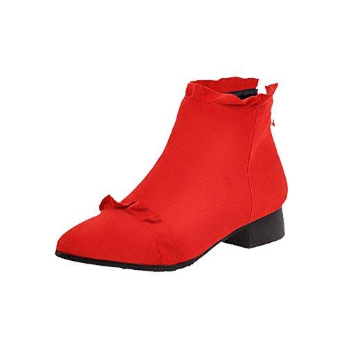 VogueZone009 Damen Reißverschluss Spitz Zehe Niedriger Absatz Niedrig-Spitze Stiefel, Rot, 37