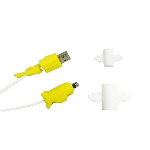 sciuU Protecteur de câble de lightning, lot de 2 Protector Cartoon Lightning Câble Silicone de protection, pour câble Lightning de iPhone, iPad, iPod, Jaune + Blanc