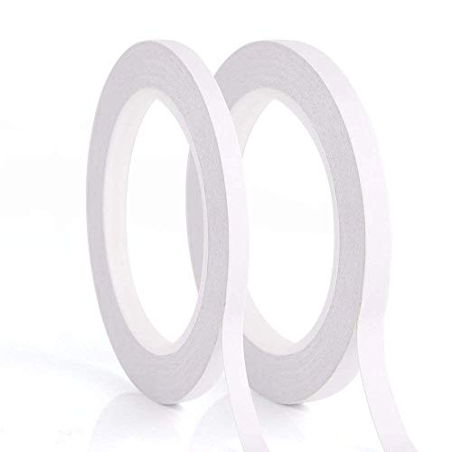 ZARRS Cinta Adhesiva Doble,2 Rollos Cinta Adhesiva Fuerte Doble Cara Cinta Adhesiva para Scrapbook Craft Projects Fotos Oficina DIY Blanco 5mm * 20m 10mm * 20m