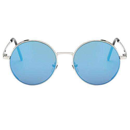 Sharplace Retro Sonnenbrille Vintage Rund Steampunk Brillen Polarisiert - Blau (Blau Polarisierten Sonnenbrillen)