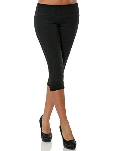 Damen High-Waist Capri-Hose Sommerhose Kurze-Hose No 15846, Farbe:Schwarz, Größe:L / 40