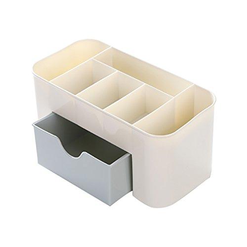 OUNONA Boîte de Rangement Comestics maquillage organisateur de bureau cosmétique porte maquillage avec tiroir (Bleu + Blanc)