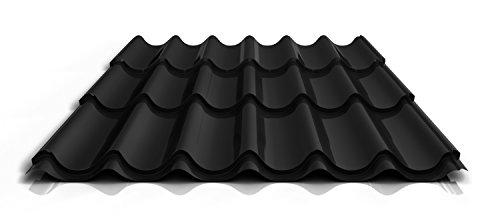 Stahl Pfannenblech PS47/1060RT | 0,50 mm | 25 µm Polyester, Farbe:Schwarz, Länge:5350 mm