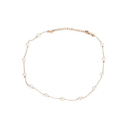 Damen kurze Halskette Perle Monolayer Clavicular Chain Zubehör YunYoud schöne ketten anhänger kettchen silberschmuck kordelkette diamanten markenschmuck gliederketten kugelkette