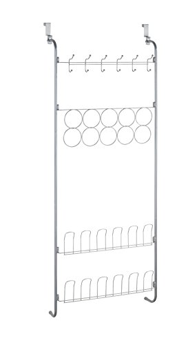 Wenko Tür-Organizer für Tücher, Schuhe, Jacken, Metall, Silber matt, 18.5x59x150.5 cm