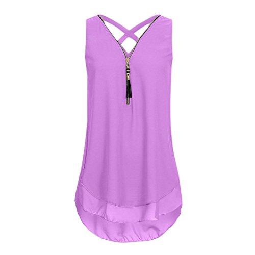 Walaka Débardeur Femme Grande Taille Col V Zippé Haut Femme Chic Mousseline de Soie Chemise sans Manche Tops Tee-Shirt (42/XL, Violet)